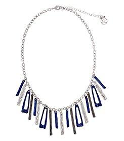 Erica Lyons® Indigo Blue Trifecta Linear Fringe Front  Necklace