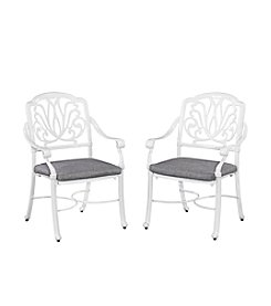 Home Styles® Floral Blossom White Set of Arm Chairs with Cushion
