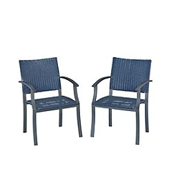 Home Styles® Stone Veneer Collection Synthetic-Weave Arm Chairs Pair