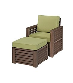 Home Styles® Barnside Chair and Ottoman with Green Apple Cushions