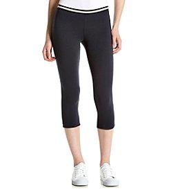 HUE® Striped Waistband Cotton Capri Leggings