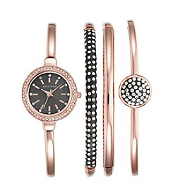 Anne Klein® Rose Goldtone Bangle Watch Set
