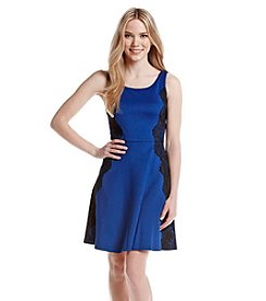 Jessica Simpson Scuba Lace Fit And Flare Dress