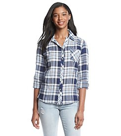 Sequin Hearts® Plaid Split Back Shirt