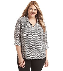 Notations® Plus Size Chevron Print Blouse
