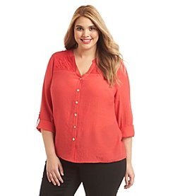 Notations® Plus Size Mandarin Collar Lace Blouse