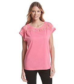 Chelsea & Theodore® Short Sleeve Shoulder Lace Top
