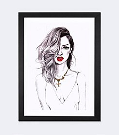iCanvas Cool Riri by Rongrong DeVoe Black Framed Fine Art Paper Print