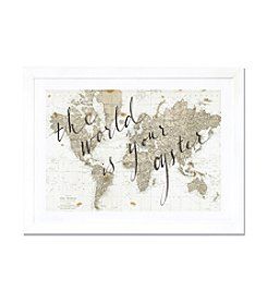 iCanvas The World Is Your Oyster by Sara Zieve Miller White Framed Fine Art Paper Print
