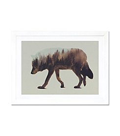 iCanvas Wolf by Andreas Lie White Framed Fine Art Paper Print