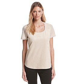 Calvin Klein Short Sleeve Knit Faux Suede Tee