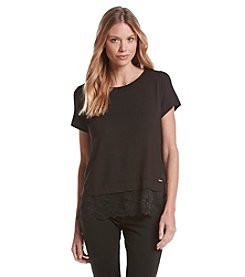 Ivanka Trump® Short Sleeve Lace Trim Top