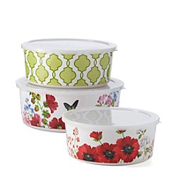LivingQuarters Botanical Collectin Floral Set of 3 Mixing Bowls