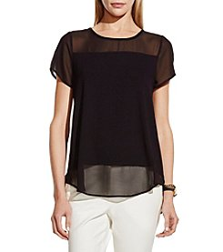 Vince Camuto® Short Sleeve With Poly Chiffon Top