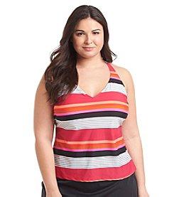 Jag Sport® Plus Size Mare Stripe Tankini