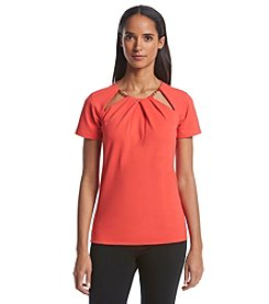 MICHAEL Michael Kors® Short Sleeve Collar Cut Out With Chain Top