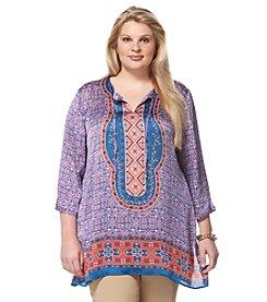Rafaella® Plus Size Printed Crinkle Tunic