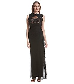 Betsy & Adam® Lace Side Ruffle Gown