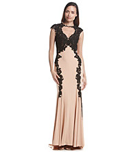 Betsy & Adam® Lace Overlay Gown