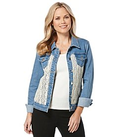 Rafaella® Petites' Denim Jacket With Crochet Trim