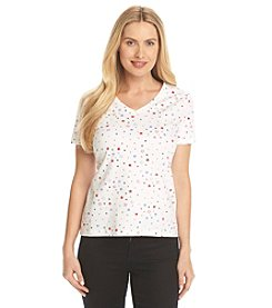 Studio Works® Petites' Star Print V-Neck Tee