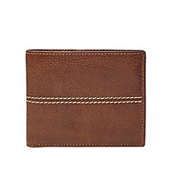 Fossil® Men's Turk Leather RFID Bifold with Flip ID Wallet