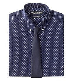 Nick Graham® Men's Dot Patterned Shirt with Solid Tie Set