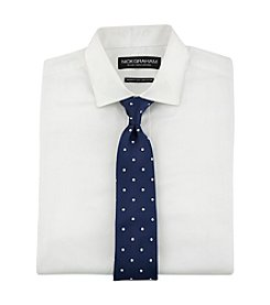 Nick Graham® Men's Dot Patterned Fitted Dress Shirt with Solid Tie Set