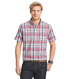 Izod® Men's Big & Tall Short Sleeve Medium Plaid Button Down Shirt