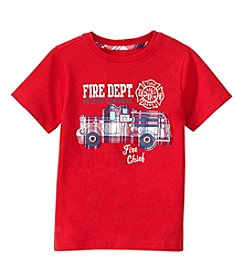 mix&MATCH Boys' 2T-7 Short Sleeve Fire Truck Applique Tee