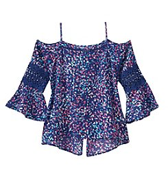 Jessica Simpson Girls' 7-16 Printed Off The Shoulder Top