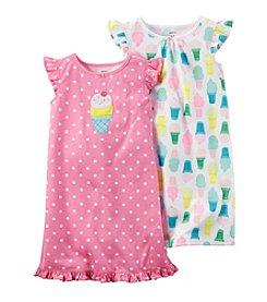Carter's® Girls' 4-14 Dot Ice Cream 2-Pack Pajama Gown Set