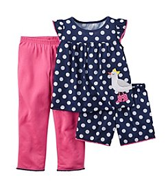 Carter's® Girls' 2T-6X Bird Dot 3-Piece Pajamas