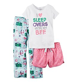 Carter's® Girls' 5-14 I Love Sleepovers' 3-Piece Pajamas Set