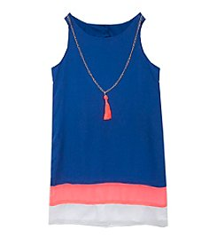 Rare Editions® Girls' 7-16 Colorblock Shift Dress With Necklace