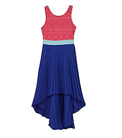 Rare Editions® Girls' 7-16 Lace Colorblock High-Low Dress