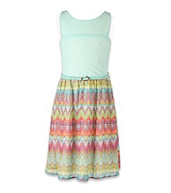 Speechless® Girls' 7-16 Geo Printed Dress With Belt