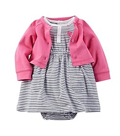Carter's® Baby Girls' Striped Dress With Cardigan Set