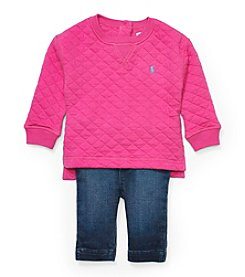 Ralph Lauren Childrenswear Baby Girls' Quilted Top And Jeggings Set