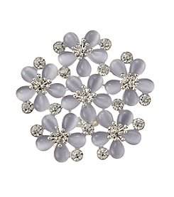 Napier® Boxed Silvertone, Purple And Crystal Flower Cluster Pin