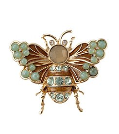 Napier® Boxed Goldtone And Green Bee Pin