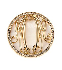 Napier® Boxed Goldtone Crystal Mom Pin