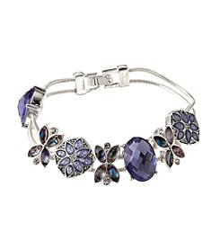 Napier® Boxed Silvertone And Purple Floral Slider Bracelet