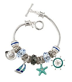 Napier® Boxed Silvertone And Blue Sealife Slider Bracelet