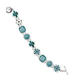 Napier® Boxed Silvertone And Turquoise Floral Motif Bracelet