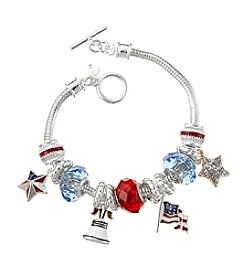 Napier® Boxed Silvertone, Blue And Red 4th Of July Bracelet