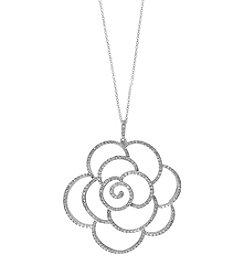 Effy® .97 ct. tw. Diamond Flower Pendant In 14K White Gold
