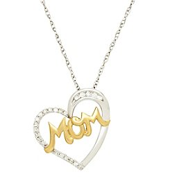 Sterling Silver And 14k Yellow Gold Heart Mom Pendant