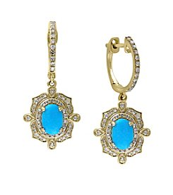 Effy® Turquoise Earrings In 14K Yellow Gold