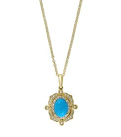 Effy® Turquoise Pendant In 14K Yellow Gold